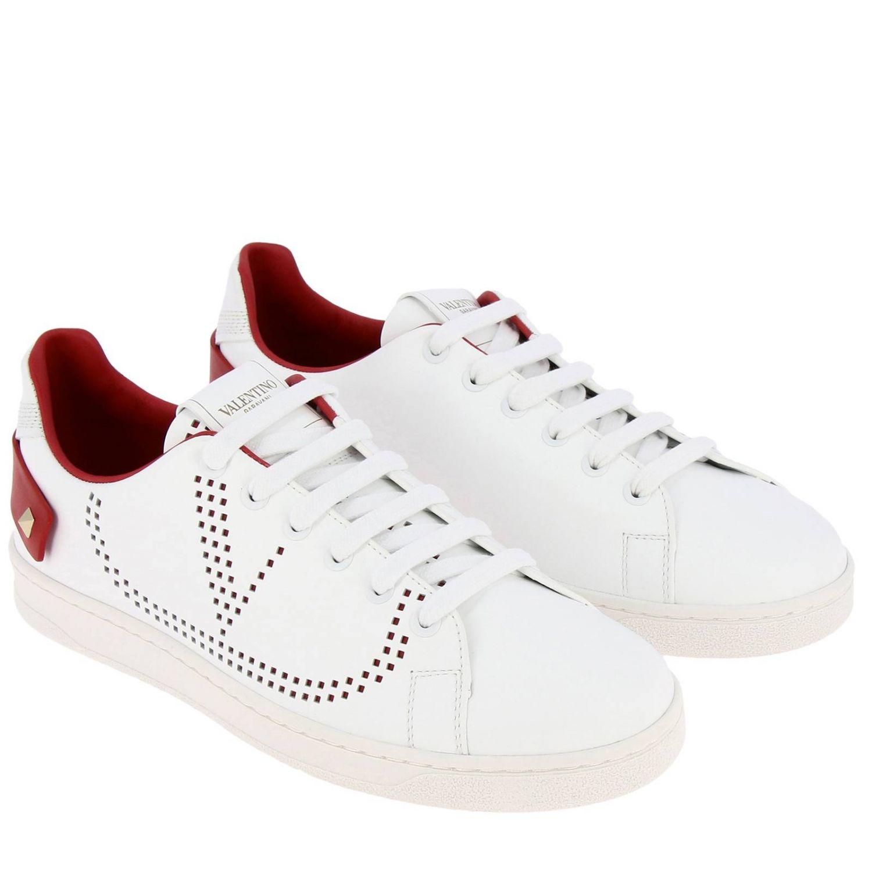 Sneakers Valentino Garavani: Valentino Garavani Backnet Sneakers aus Leder mit mikroperforiertem Logo weiss 1 2