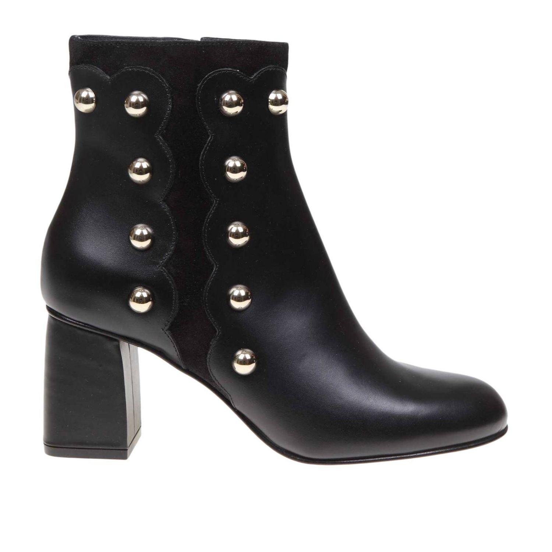 Heeled ankle boots women Red(v) black 1