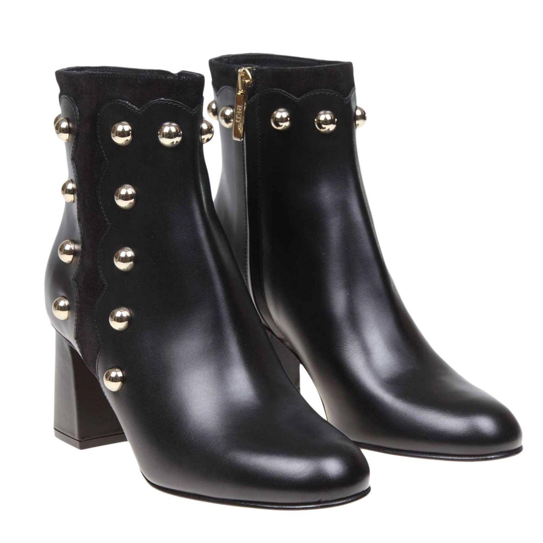 Heeled ankle boots women Red(v) black 2