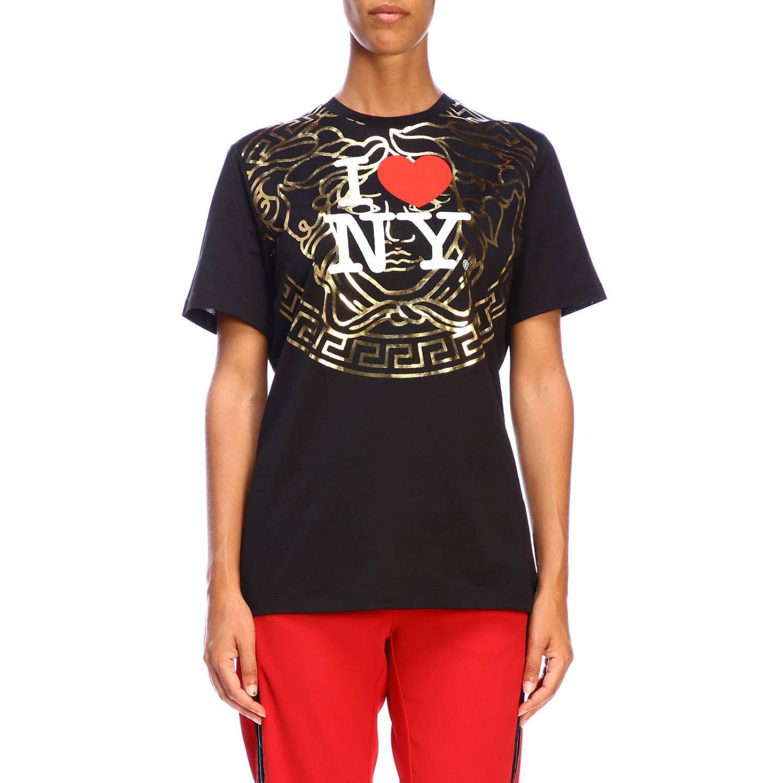 T-shirt Versace à manches courtes avec maxi impression I love New York noir 1