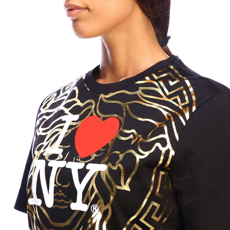 T-shirt Versace à manches courtes avec maxi impression I love New York noir 4