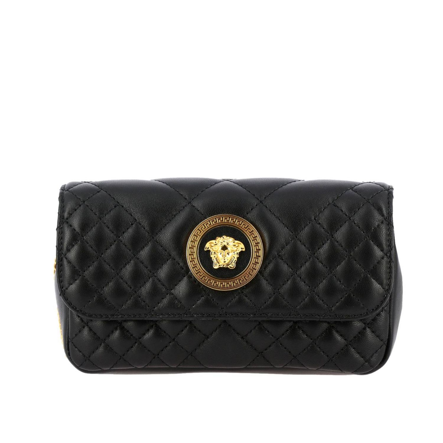 Versace shoulder bag in quilted leather with Medusa head gold 1