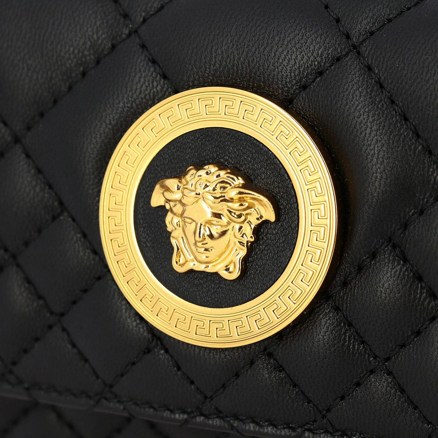 Versace shoulder bag in quilted leather with Medusa head gold 4