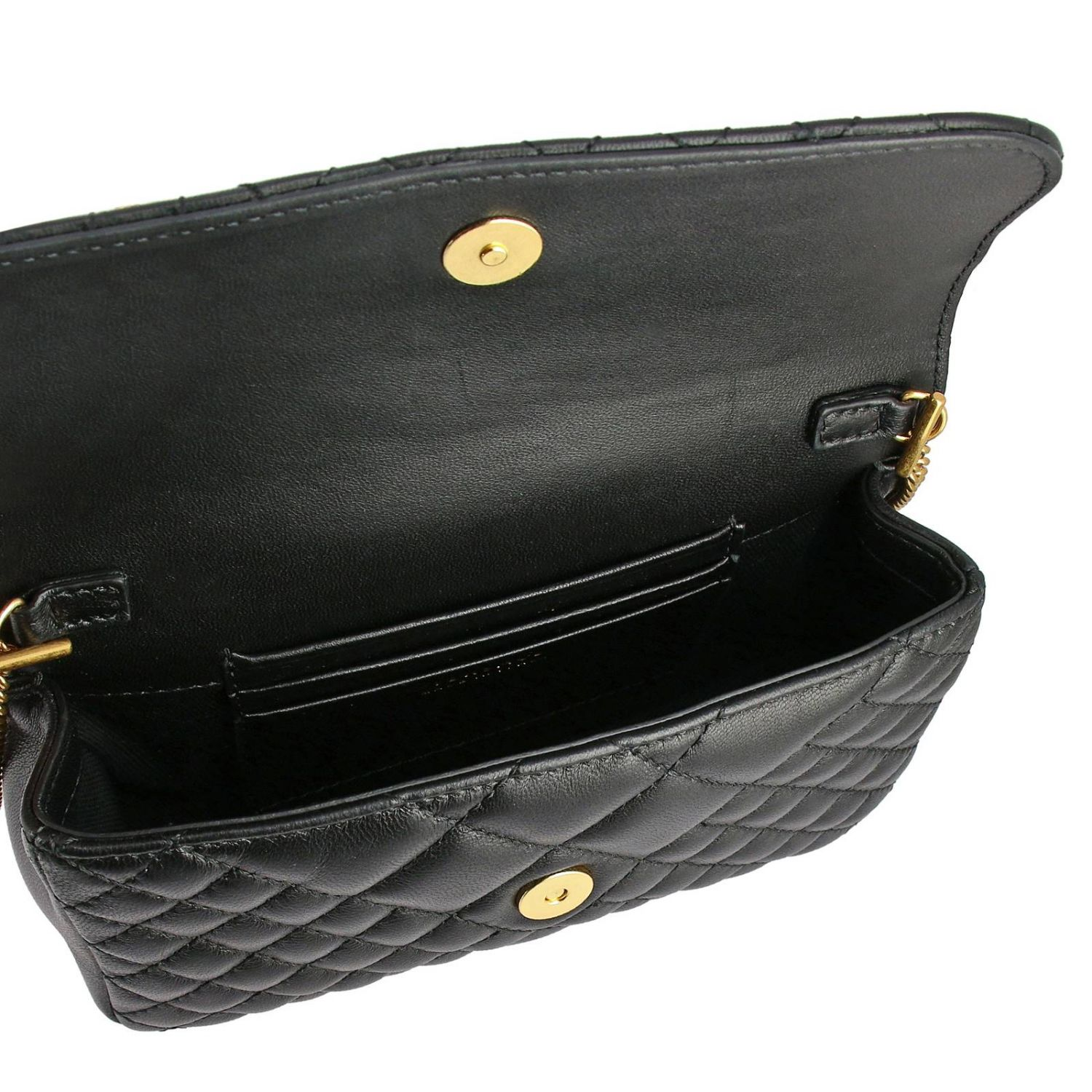 Versace shoulder bag in quilted leather with Medusa head gold 5