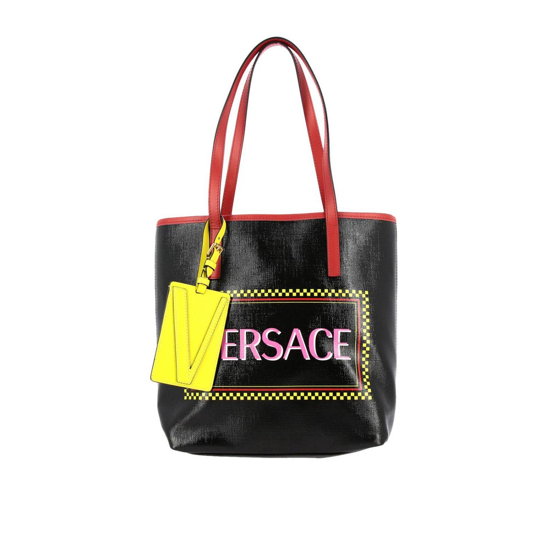 Vintage Versace 90er Ledertasche mit Logoprint schwarz 1