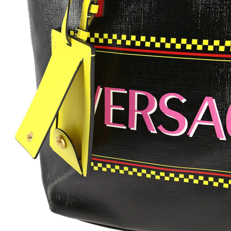 Vintage Versace 90er Ledertasche mit Logoprint schwarz 4