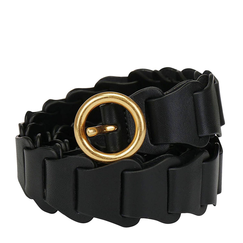 Cintura Bottega Veneta in pelle a maglie modulari nero 1