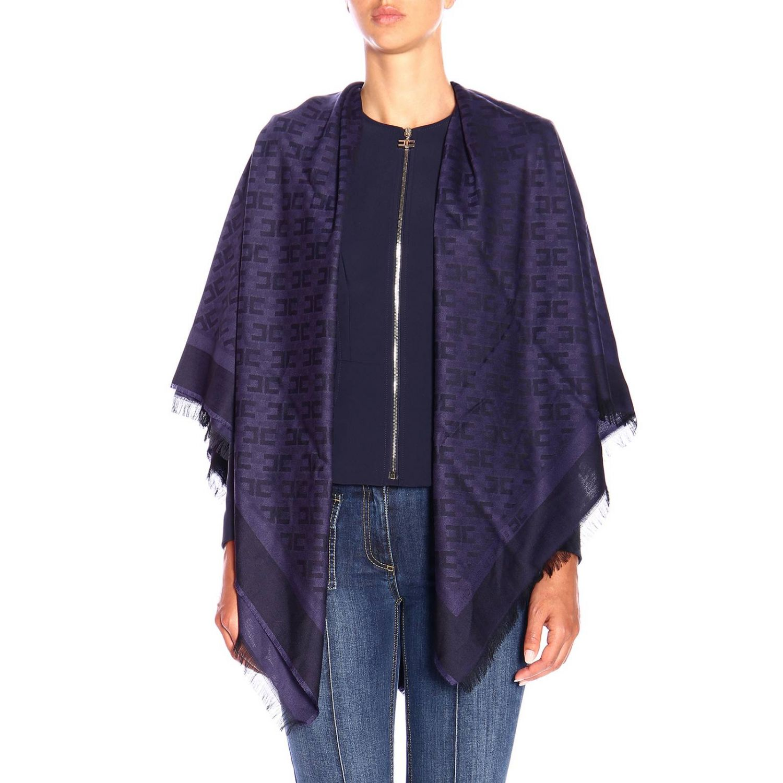 Elisabetta Franchi基本款粘纤莫代尔logo印花围巾 蓝色 1