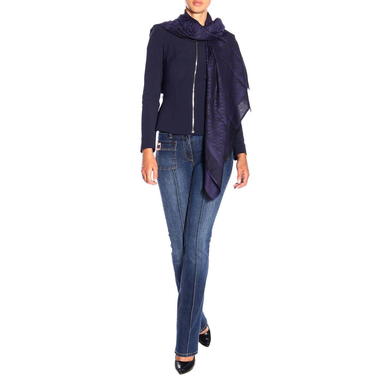 Elisabetta Franchi基本款粘纤莫代尔logo印花围巾 蓝色 2