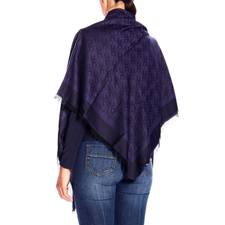 Elisabetta Franchi基本款粘纤莫代尔logo印花围巾 蓝色 3