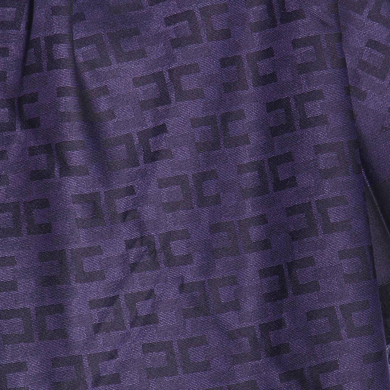 Elisabetta Franchi基本款粘纤莫代尔logo印花围巾 蓝色 4