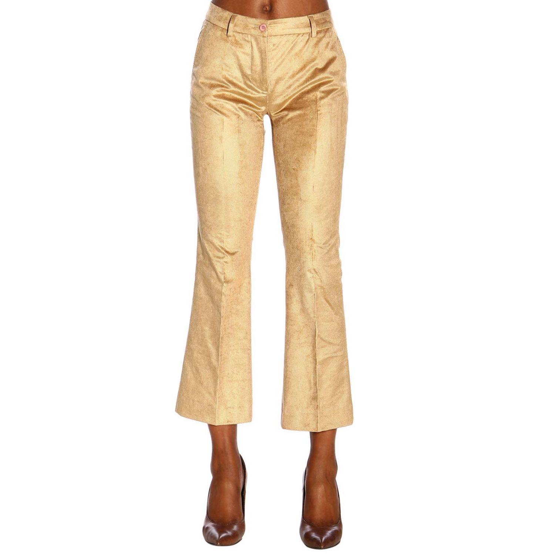 Pantalone PT a trombetta in tessuto a coste beige 1