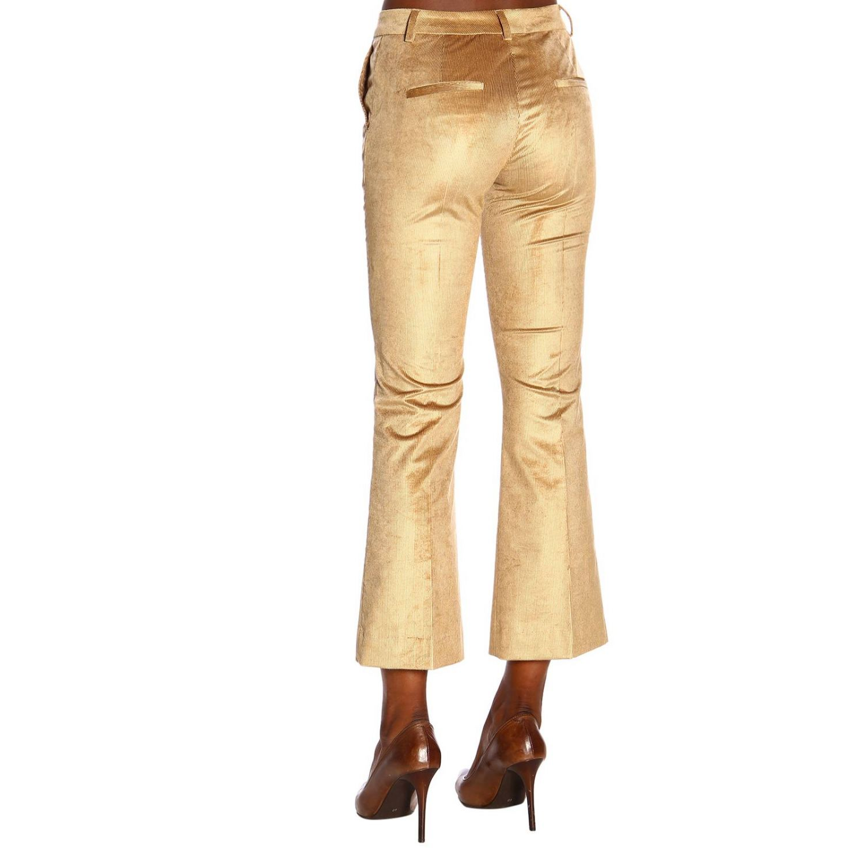 Pantalone PT a trombetta in tessuto a coste beige 3