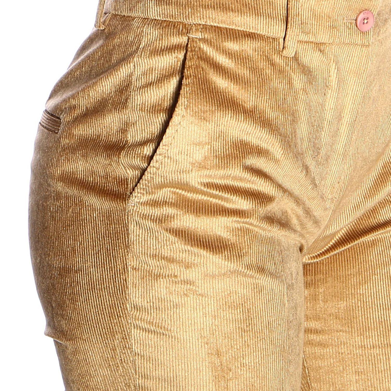 Pantalone PT a trombetta in tessuto a coste beige 4
