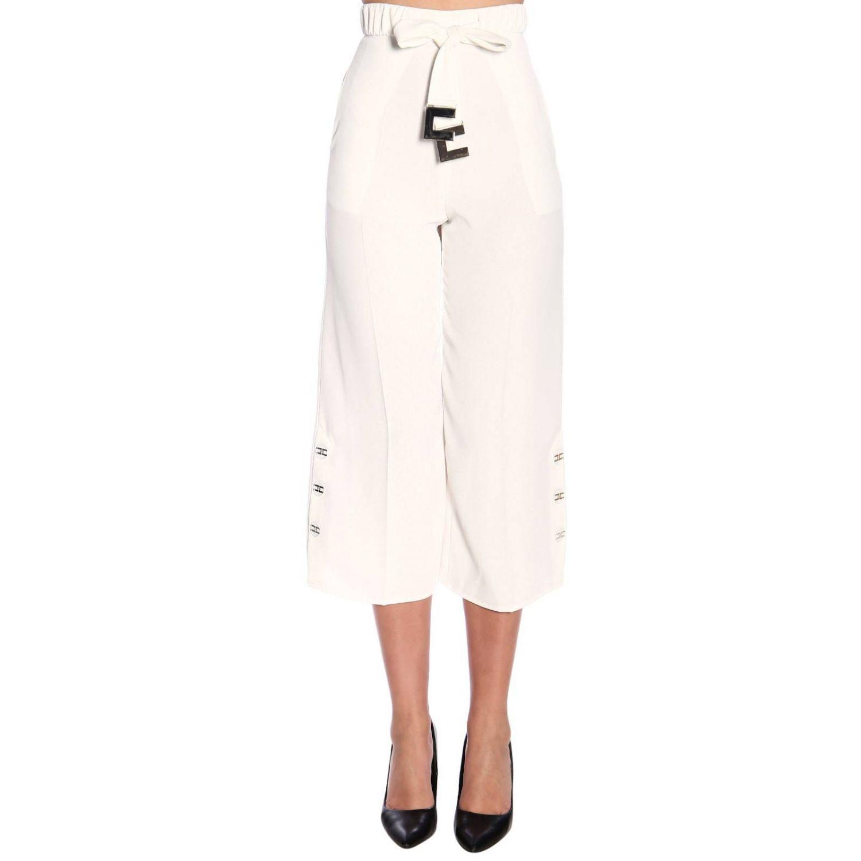 Elisabetta Franchi高腰配腰带和logo长裤 白色 1