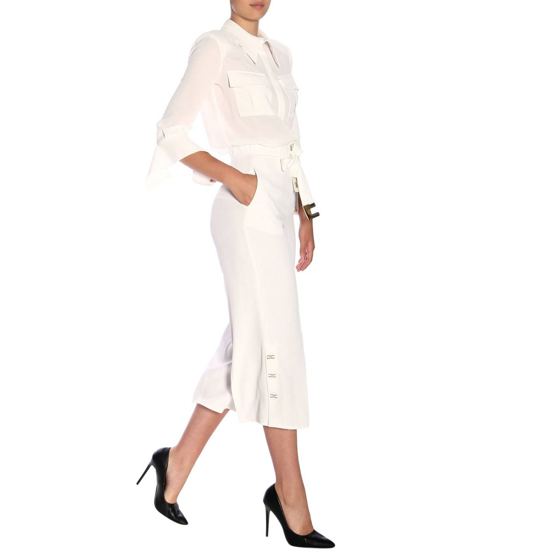 Elisabetta Franchi高腰配腰带和logo长裤 白色 2