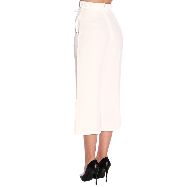 Elisabetta Franchi高腰配腰带和logo长裤 白色 3