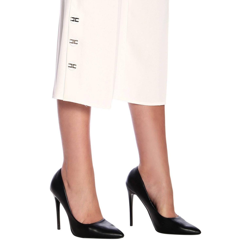 Elisabetta Franchi高腰配腰带和logo长裤 白色 4