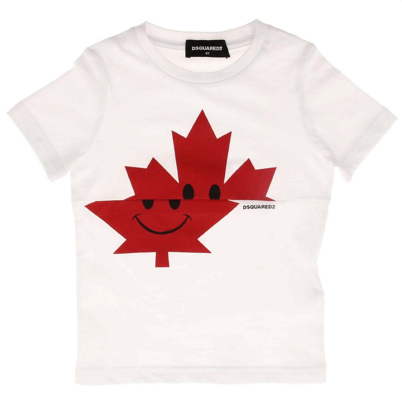 Camiseta de manga corta Dsquared2 con estampado de trébol de cuatro hojas blanco 1