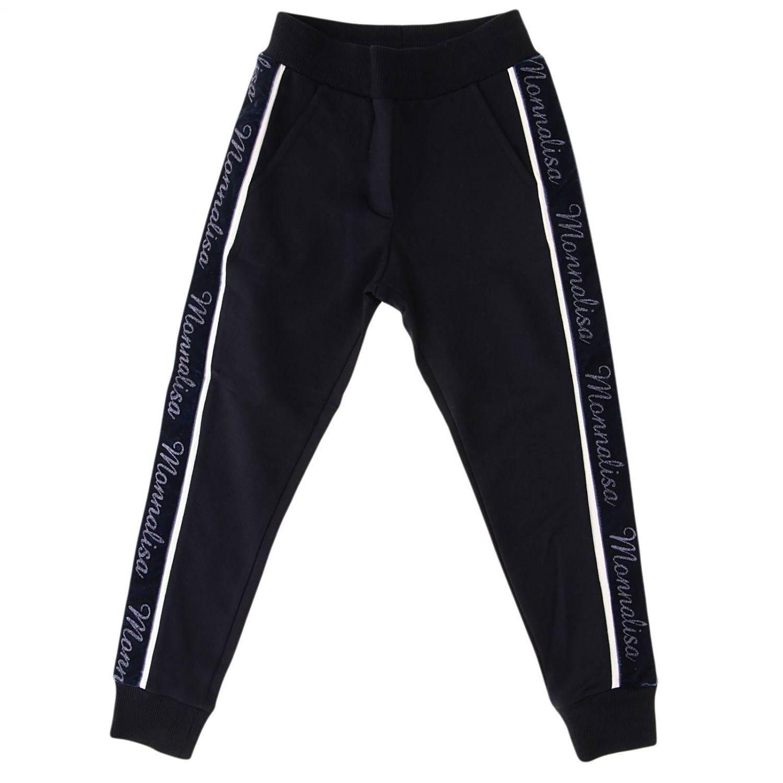 Pantalone Jogging Monnalisa con bande logate blue 1