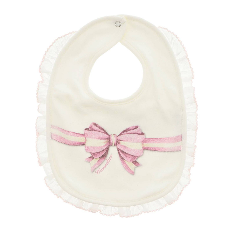 Bavaglino Monnalisa Bebé con stampa fiocco e bordi di rouches panna 1