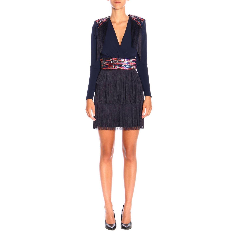 Elisabetta Franchi 星型装饰和流苏短款连衣裙 蓝色 1