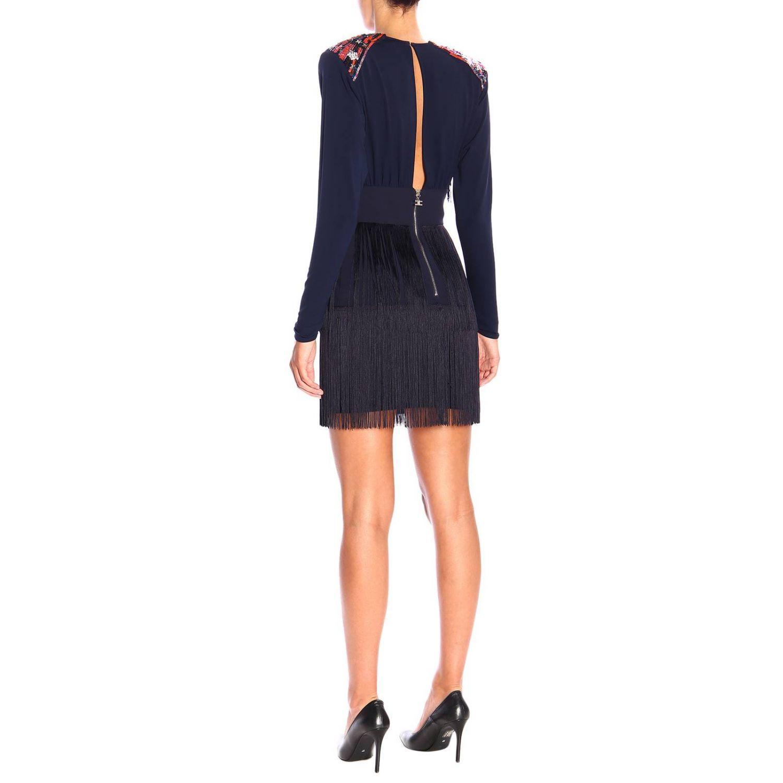 Elisabetta Franchi 星型装饰和流苏短款连衣裙 蓝色 2