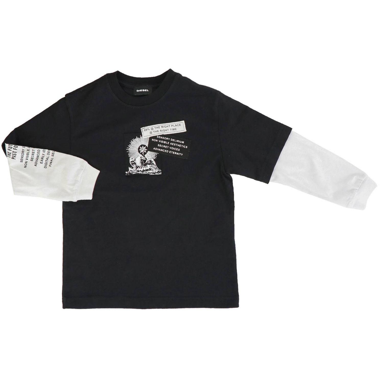 T-shirt Diesel: T-shirt Diesel a maniche lunghe stampata nero 1