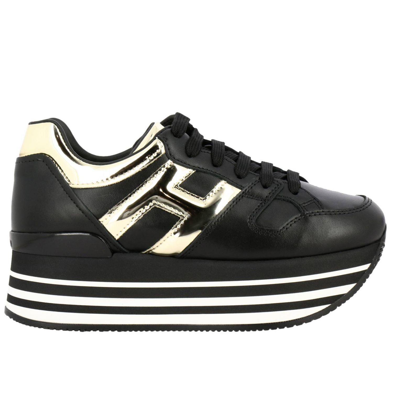 Hogan运动鞋,皮革,金属感H和222鞋底 黑色 1