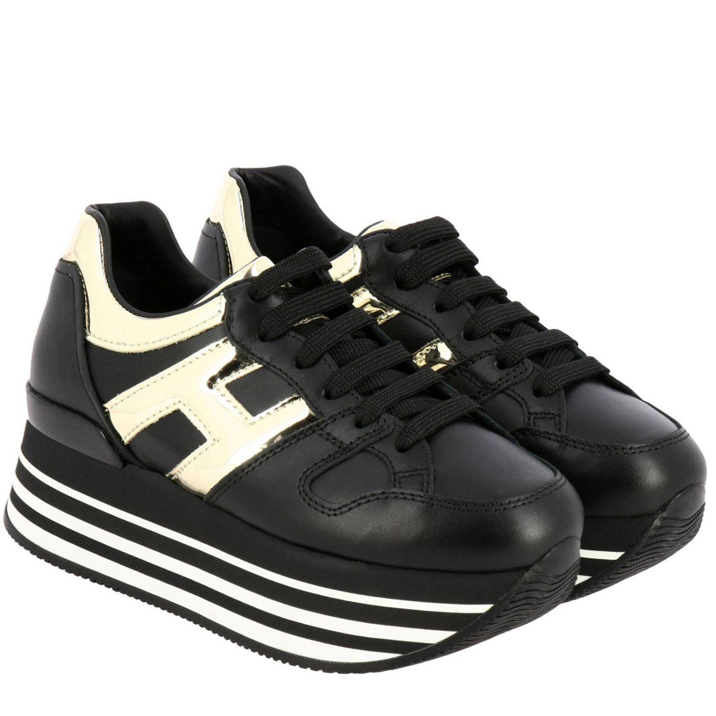 Hogan运动鞋,皮革,金属感H和222鞋底 黑色 2