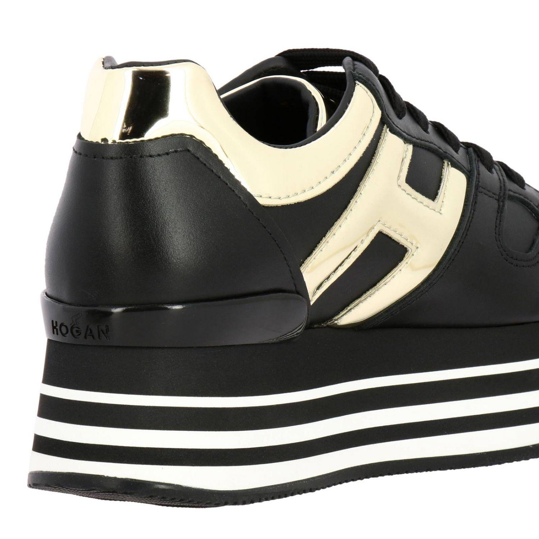 Hogan运动鞋,皮革,金属感H和222鞋底 黑色 4