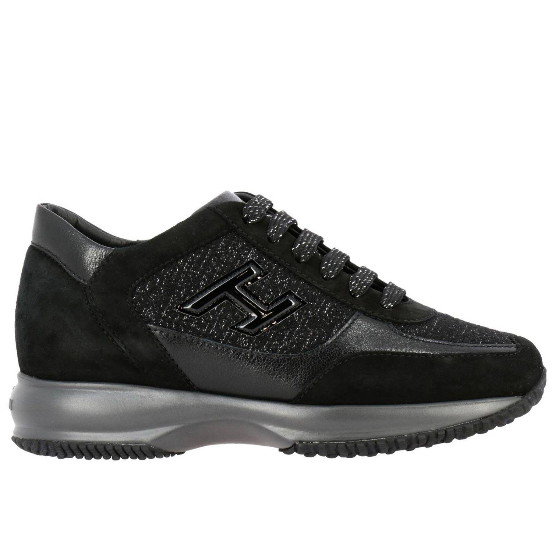 Hogan Interactive运动鞋,采用绒面皮革和卢勒克斯面料制成,配有H装饰 黑色 1