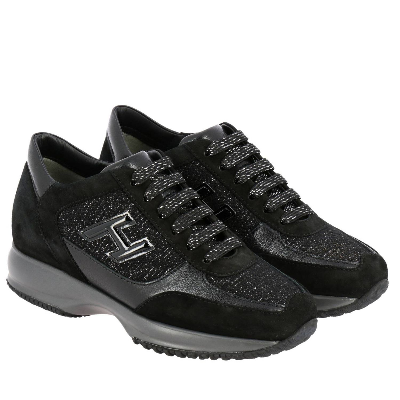 Hogan Interactive运动鞋,采用绒面皮革和卢勒克斯面料制成,配有H装饰 黑色 2