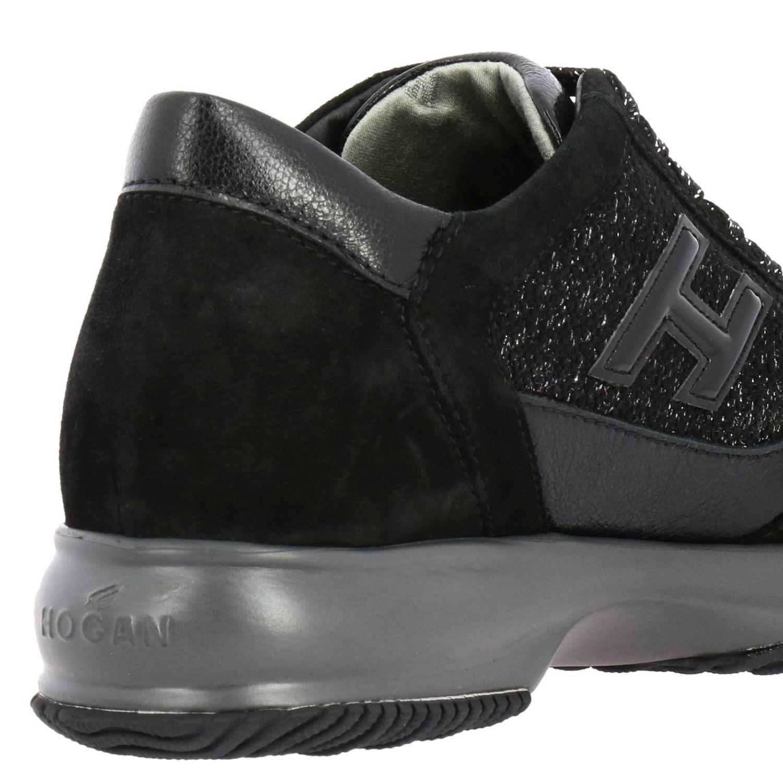 Hogan Interactive运动鞋,采用绒面皮革和卢勒克斯面料制成,配有H装饰 黑色 4