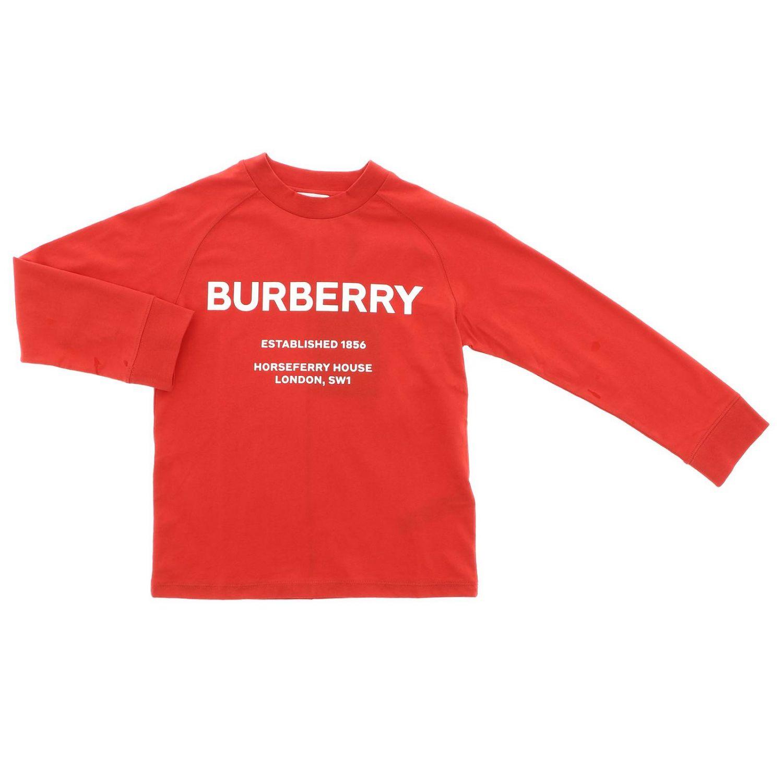 T-shirt a maniche lunghe con maxi stampa Burberry rosso 1