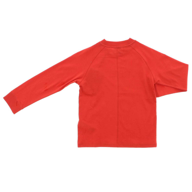 T-shirt a maniche lunghe con maxi stampa Burberry rosso 2
