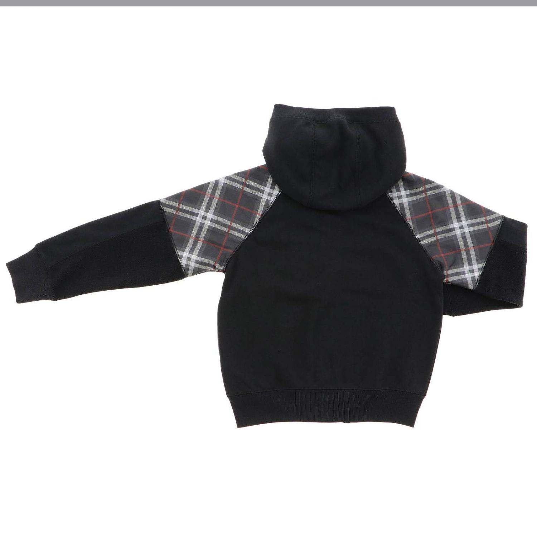 Felpa Burberry con cappuccio zip e dettagli check nero 2