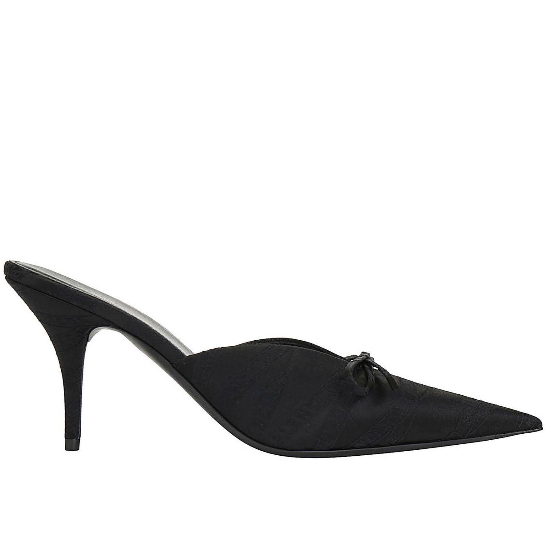 High heel shoes Balenciaga: Balenciaga pointed fabric sabot with bow black 1