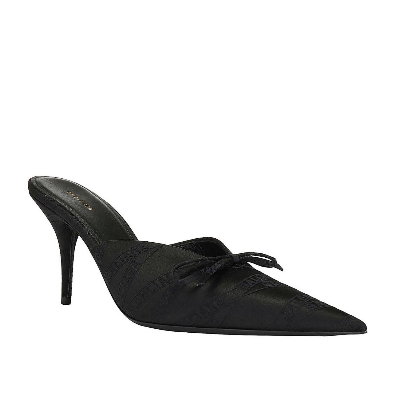 High heel shoes Balenciaga: Balenciaga pointed fabric sabot with bow black 2