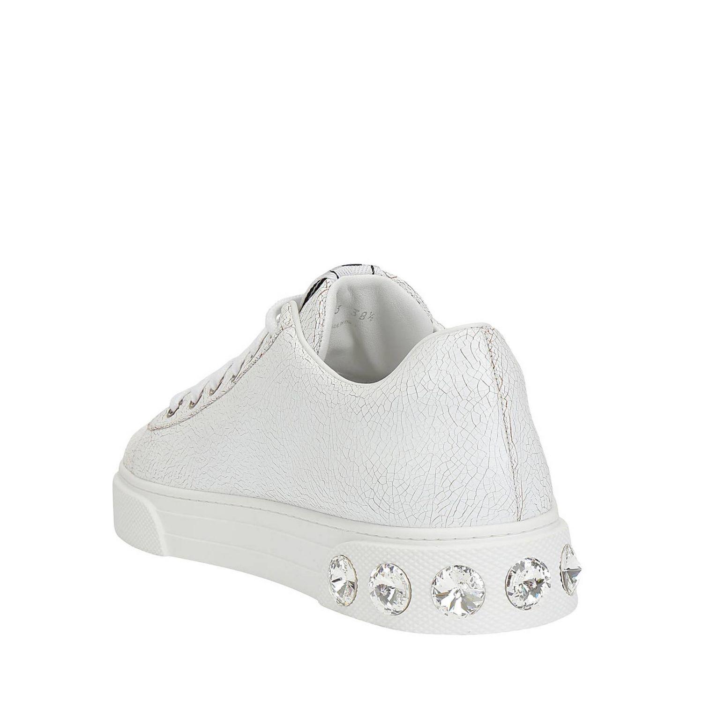 Кроссовки Miu Miu из обработанной кожи со стразами белый 3