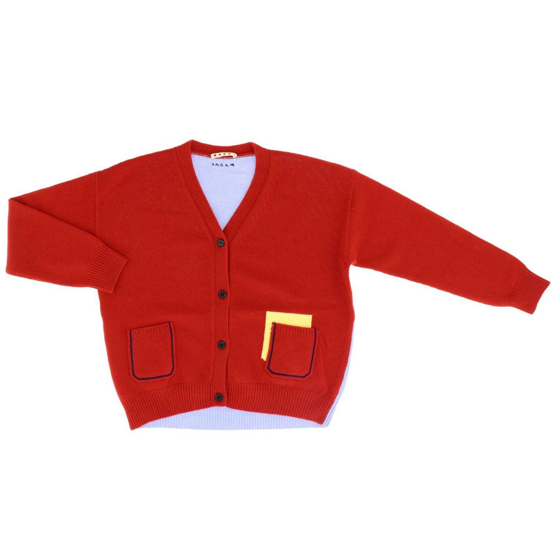 Cardigan Marni bicolor con tasche a toppe e dettagli a contrasto rosso 1