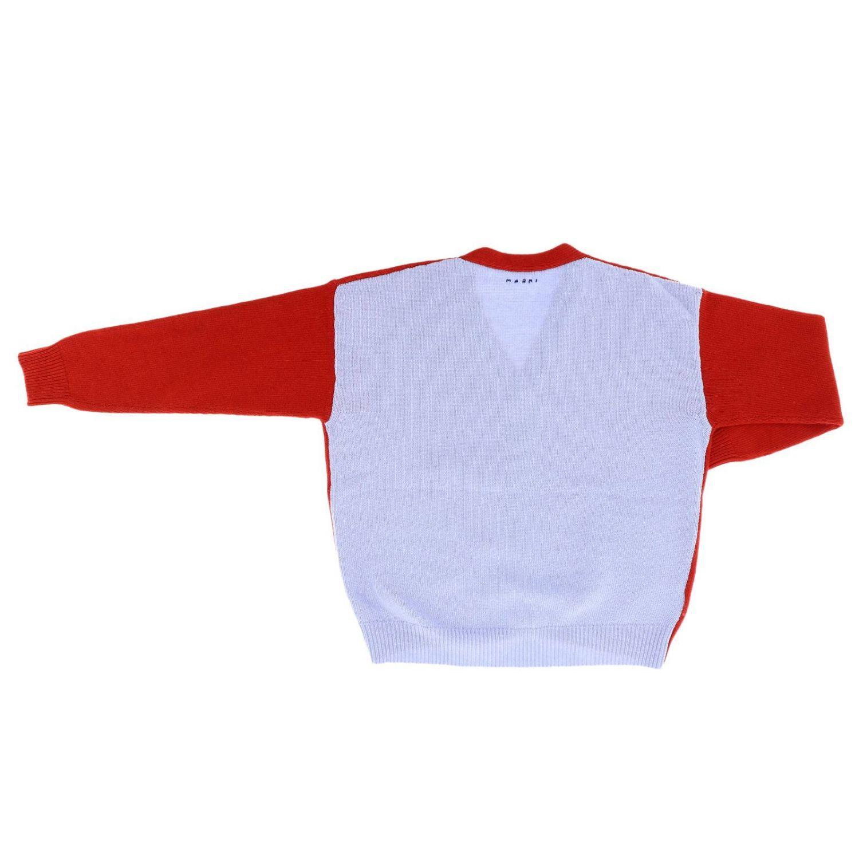 Cardigan Marni bicolor con tasche a toppe e dettagli a contrasto rosso 2