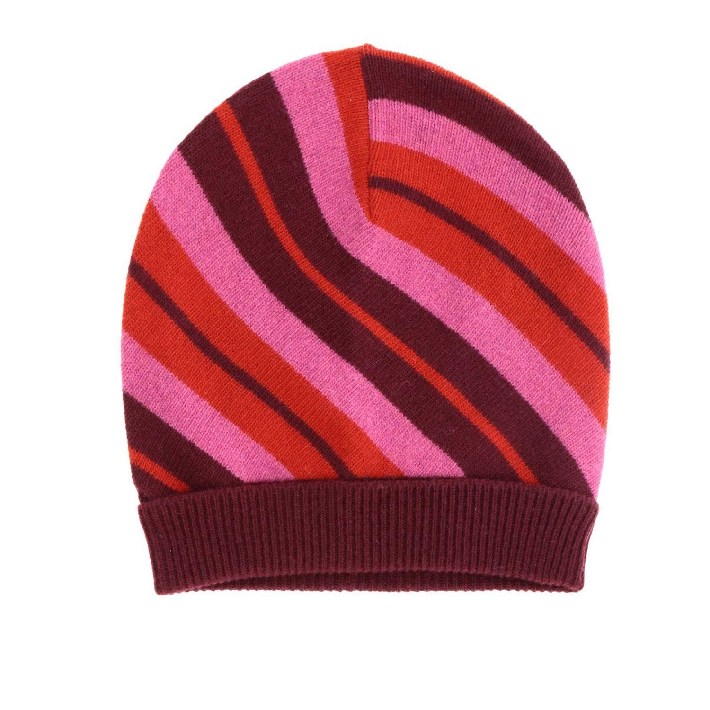Cappello Marni a coste con motivo a righe rosso 1