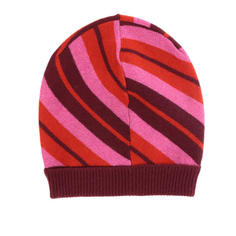 Cappello Marni a coste con motivo a righe rosso 2