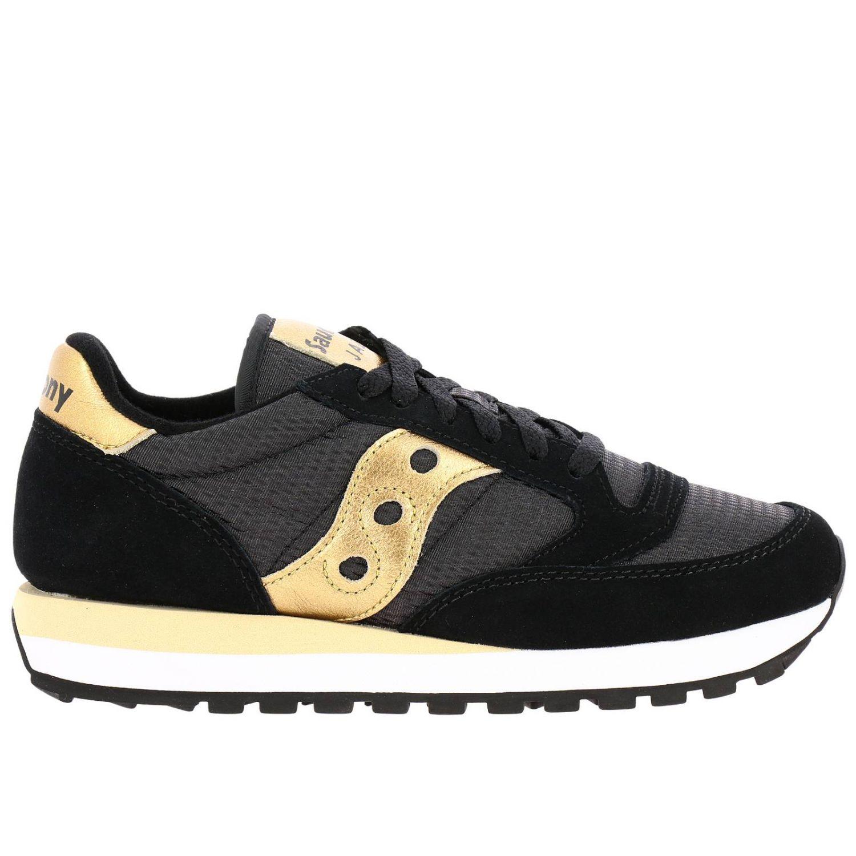 Sneakers Jazz Saucony in pelle laminata e tela con frange amovibili nero 1