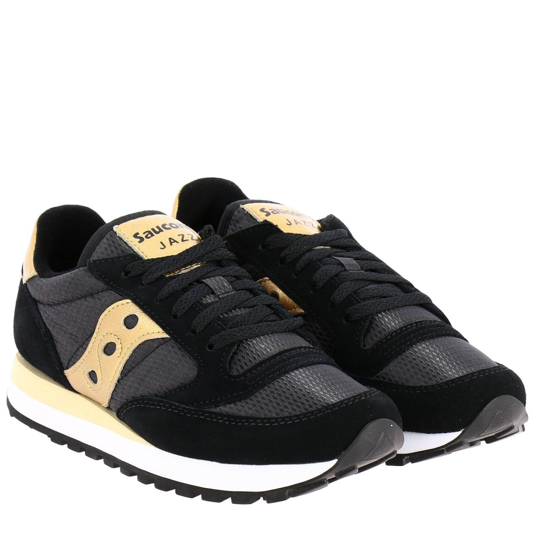 Sneakers Jazz Saucony in pelle laminata e tela con frange amovibili nero 2