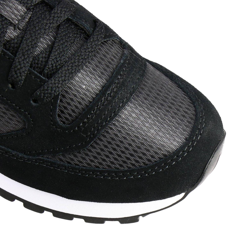 Sneakers Jazz Saucony in pelle laminata e tela con frange amovibili nero 3