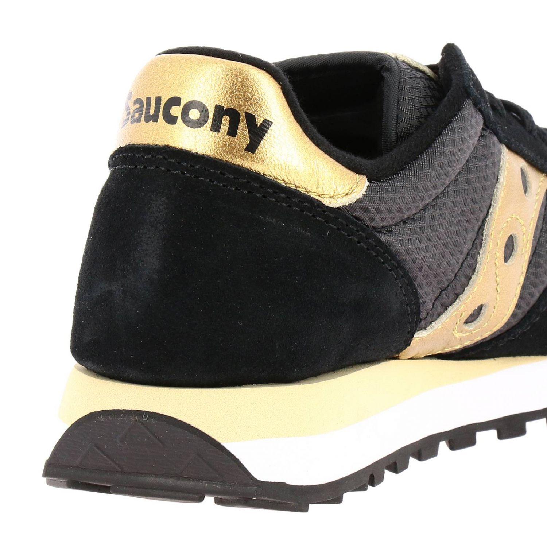 Sneakers Jazz Saucony in pelle laminata e tela con frange amovibili nero 4