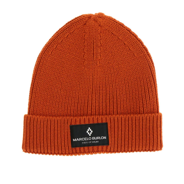 Cappello Marcelo Burlon a coste con logo arancione 1