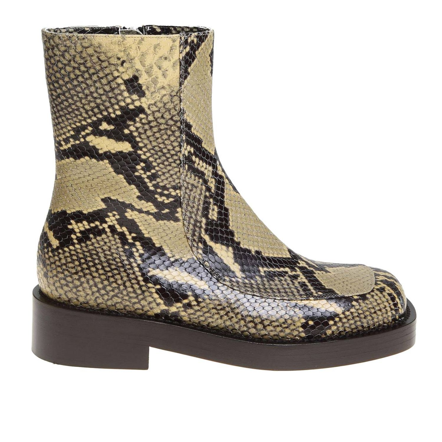 Marni Ankle Boots In Python Print Leather With Piercing Flat